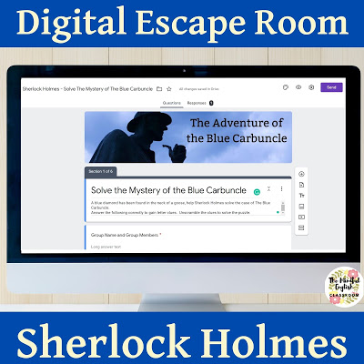 Sherlock Holmes, Readers Theater, Christmas, Holiday, Lesson Plans, ELA, Digital Escape Room, Short Story, Short Stories, No Prep, High School, English, Google Classroom
